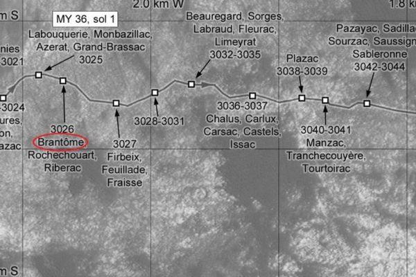 Une cartographie d'un secteur de la planète mars exploré par Curiosity avec des noms de villages périgourdins utilisés pour nommer chaque point.