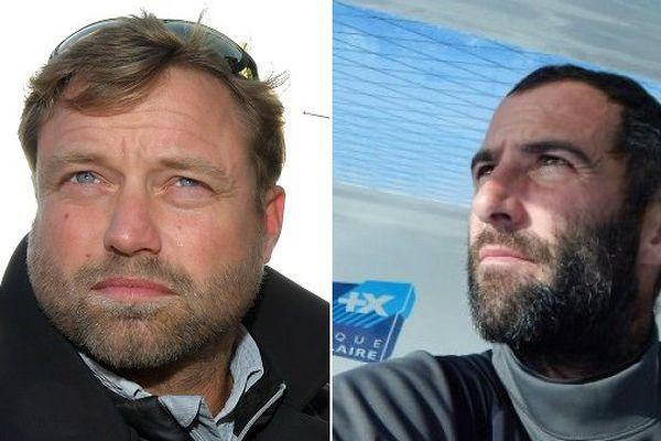 Alex Thomson (à gauche) et Armel Le Cléac'h (à droite)