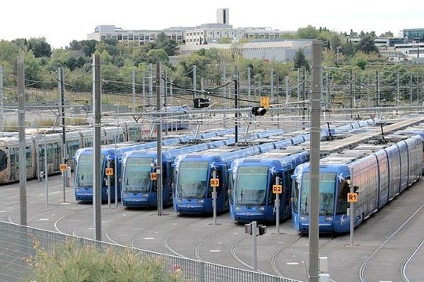 Montpellier - dépôt du tramway de la TAM ligne 1 - archives