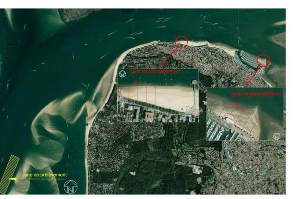Carte des travaux de réensablement des plages d'Arcachon