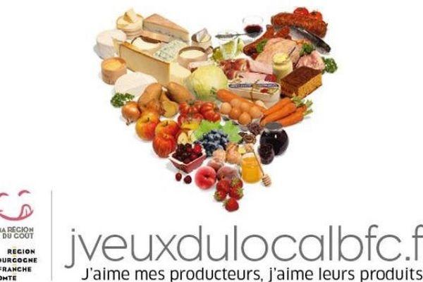 """Un des visuels de la campagne de communication """"J'veux du local"""" organisée par le Conseil régional de Bourgogne Franche-Comté."""