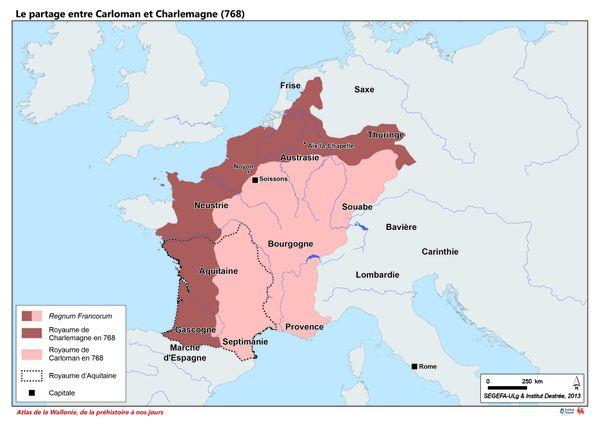 En 768, le royaume de Pépin le Bref est partagé entre son fils aîné Carloman qui hérite de l'Austrasie et son fils cadet Charlemagne qui va régner sur la Neustrie.