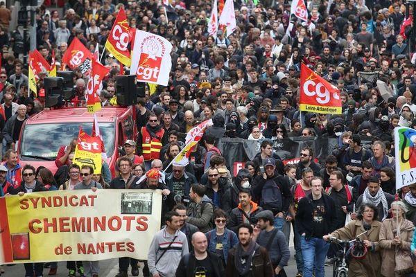 La fédération CGT Cheminots ici le 14 avril 2018 à Nantes participe à l'appel à la grève lancé pour ce vendredi 14 décembre 2018.