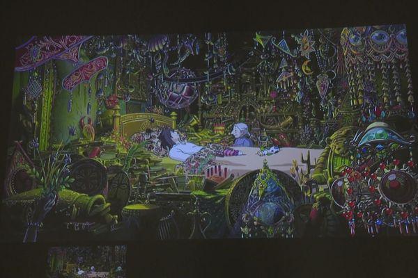 Cette scène du Château ambulant est l'une des images retenues pour être tissée et exposée à la Cité de la tapisserie
