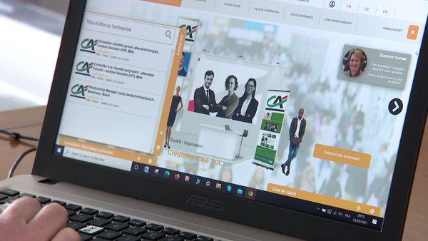 Exemple d'un stand virtuel au salon de l'emploi franco-allemand : les candidats peuvent envoyer une candidature spontanée, chatter avec un responsable ou répondre à des offres d'emploi ciblées