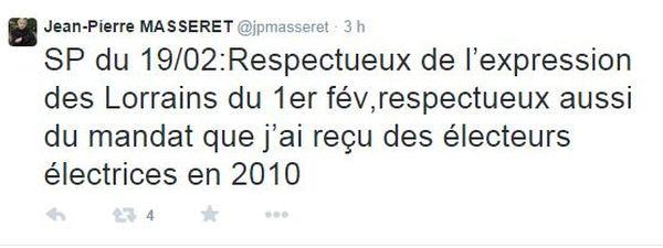 Jean-Pierre Masseret tire les conséquences du vote.