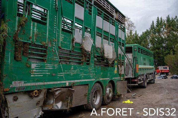 L'intervention des pompiers du Gers a permis de remettre le camion de transport de bétail sur ses roues : 3 vaches ont péri dans l'accident