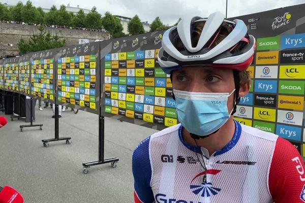 Valentin Madouas au départ du Tour de France à Brest, un moment fort pour lui qui a toujours vécu ici.