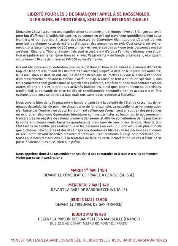 Communiqué de rassemblement pour la libération des trois jeunes détenus à Marseille.