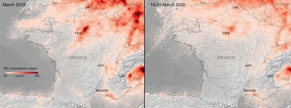 Taux de la pollution en dioxyde d'azote NO2 de la France AVANT et PENDANT le confinement
