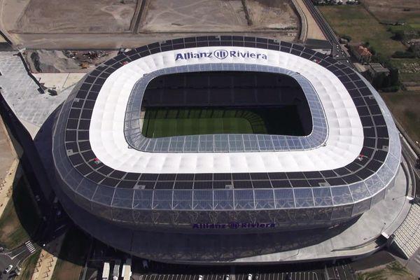 Le stade de l'Allianz Riviera à Nice vu du ciel.
