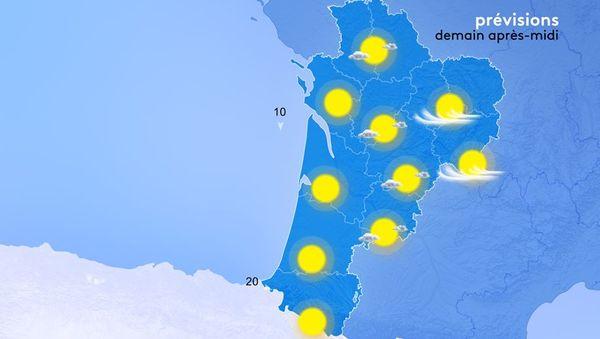Les températures maximales seront douces comprises entre 18 et 22 degrés du Nord au Sud.