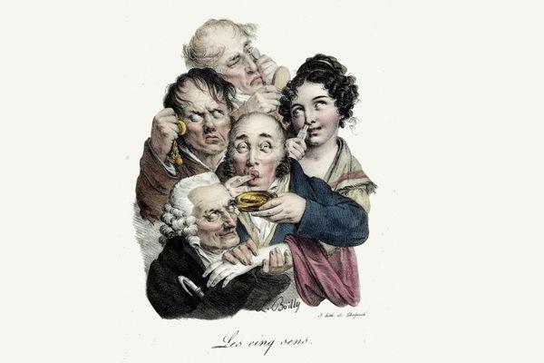 """""""Les cinq sens"""", lithographie de Louis-Léopold Boilly."""