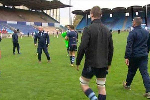 Les jouerus du HAC rugby, juste avant la rencontre face aux parisiens du SCUF.
