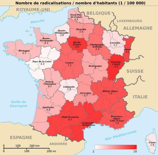 Nombre de radicalisations par nombre d'habitants