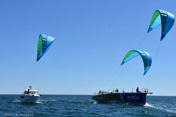 L'idée d'Yves Parlier, développer un kite de secours en cas de démâtage sur le Vendée Globe