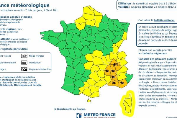 La bulletin de vigilance est orange dans une partie de la région.
