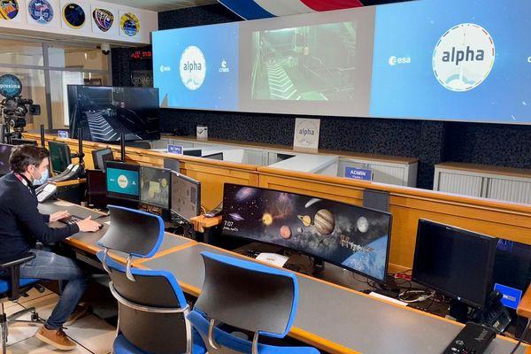 La salle du CADMOS au centre spatial de Toulouse - centre opérationnel qui suit les expériences menées à bord de la station spatiale