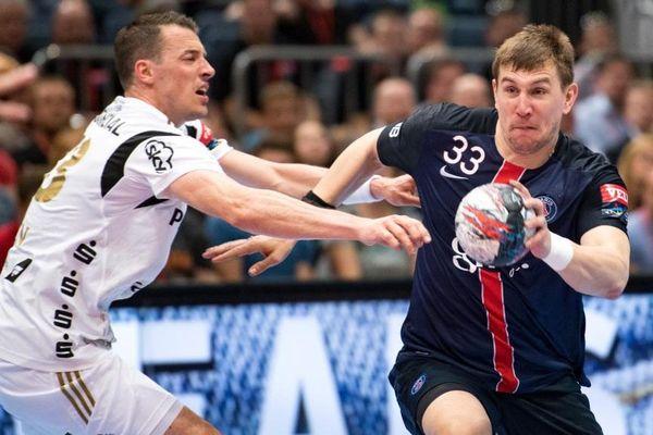 Lors du match PSG Handball/Kiel, en petite finale du Final Four de Ligue des champions 2016, le 29 mai 2016.