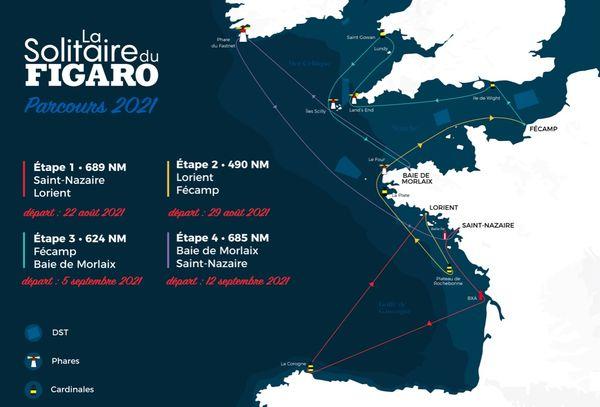 La carte du parcours de la Solitaire du Figaro 2021 qui s'élancera de Saint-Nazaire le 20 août