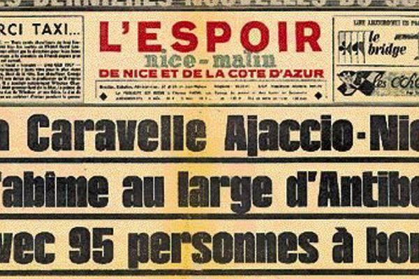 La Une de Nice Matin l'Espoir du 11 septembre 1968 annonçant l'accident de la Caravelle Ajaccio-Nice.