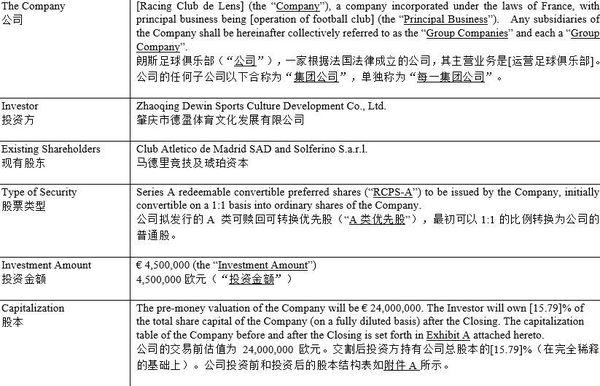 Extrait du projet d'entrée des Chinois de Dewin Sports dans le capital du RC Lens, avec une valorisation du club à 24 millions d'euros.