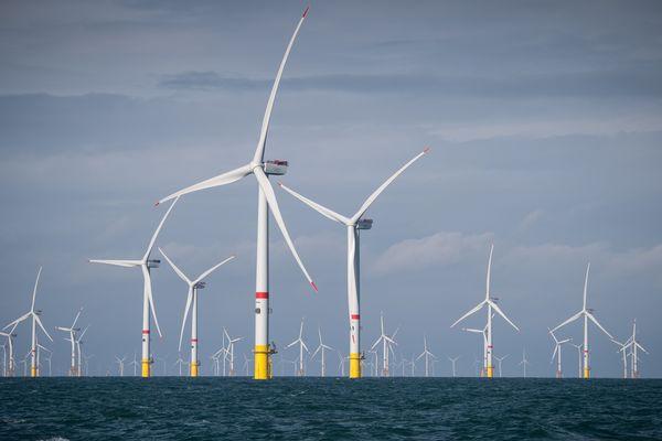 Au large de la côte belge, 44 éoliennes en Mer contribuent à verdir l'énergie.