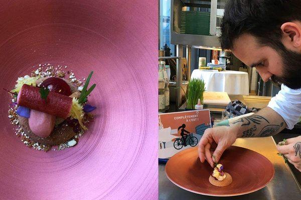 Une création composée de fraises avec le meilleur pâtissier d'Allemagne Mathias Spurk.