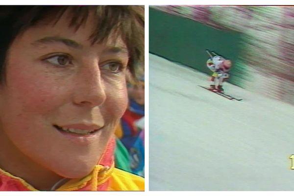 Claudine Emonet lors de la descente de Val d'Isère le 13 décembre 1986.