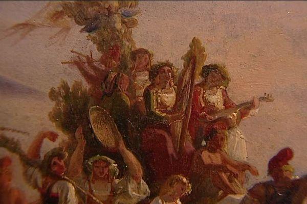 """Esquisse préparatoire - Oeuvre de Léopold Robert """" Retour du pélerinage à la Madone de l'Arc, vers 1827"""