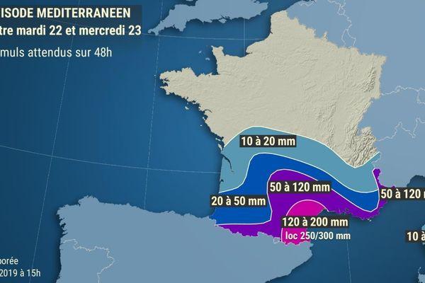 Météo France indique que cet épisode méditerranéen pourrait provoquer des cumuls de pluie allant localement jusqu'à 300 mm.