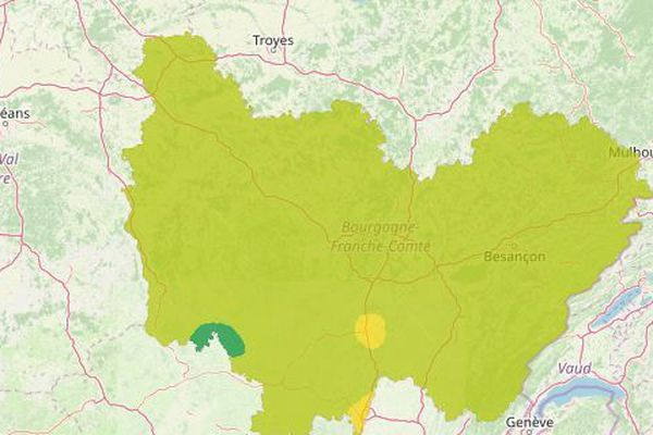 Pour l'ensemble de la région, l'indice de qualité de l'air est bon