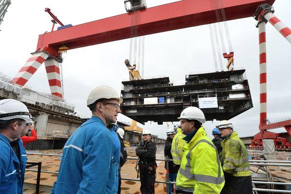 La mise sur cale du MSC Meraviglia le 1er février 2016 au chantier STX de Saint-Nazaire