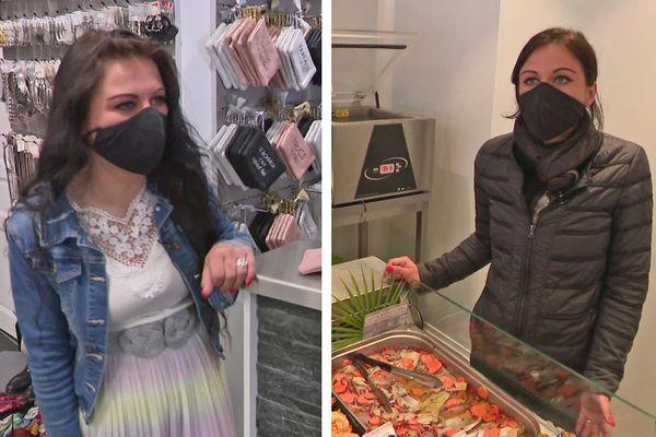 Adeline Perrée, à gauche dans sa boutique de vêtements, à droite dans son nouveau travail chez le poissonnier de Beuzeville (Eure)