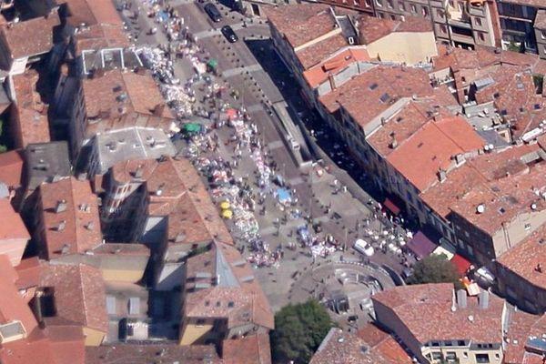 Photo satellite (archives) de la place Arnaud Bernard à Toulouse