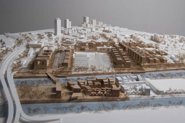 Maquette du village des athlètes des Jeux Olympiques de Paris 2024.