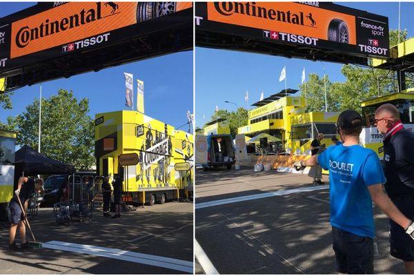 À Colmar, les équipes techniques finissent de préparer la ligne d'arrivée.