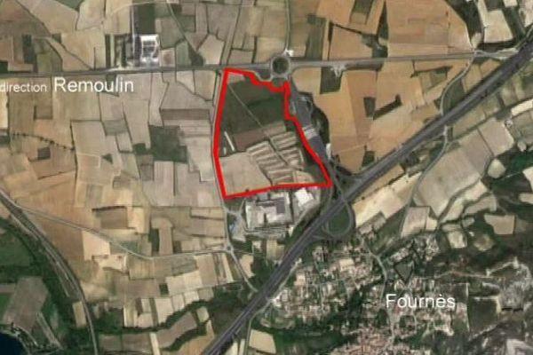 Lieu d'implantation prévu pour le projet d'Amazon dans le Gard.