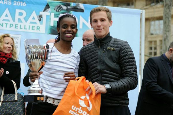 """La première place pour l'épreuve féminine en marathon solo a été remportée par Mercelyne Jeronoh (Annecy) en 2 h 47'01"""" au marathon de Montpellier le 20 mars 2016."""