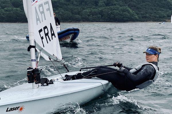 Marie Bolou à l'entraînement. La sélectionnée olympique en Laser radial s'est offert une navigation de 2h dans la rade de Brest