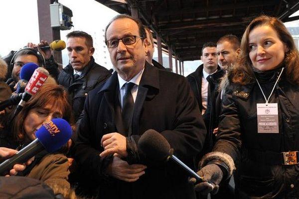François Hollande, salle de l'Auzelou à Tulle pour ses voeux aux Corréziens, le 17/01/15.
