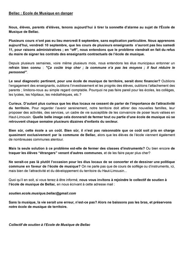 Le tract du collectif de soutien à l'école de musique de Bellac qui a circulé la semaine dernière dans les couloirs de l'établissement.