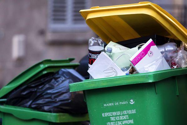 Des poubelles remplies à Paris, le 17 janvier dernier (illustration).
