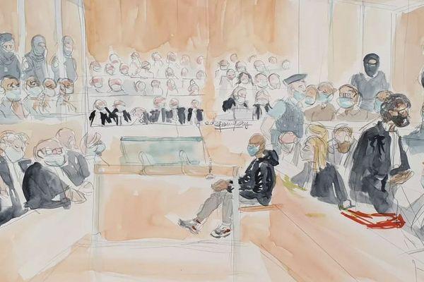 La salle d'audience du procès des attentats de janvier 2015, à l'ouverture des débats, le 2 septembre 2020.