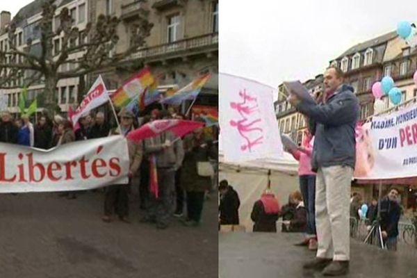 Deux manifestations ont été organisées samedi après-midi à Strasbourg