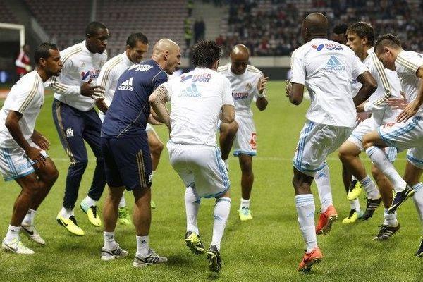 Les joueurs de l'OM lors de leur match contre Nice