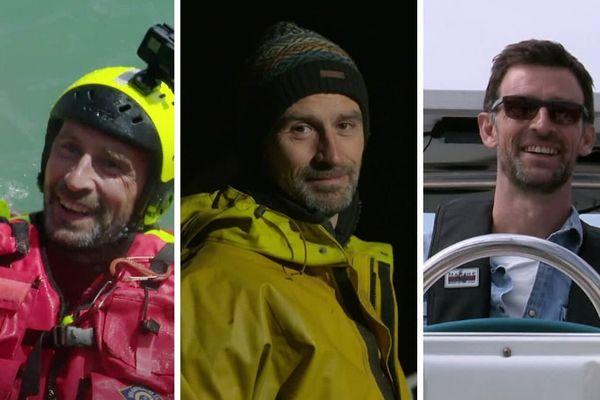 De gauche à droite : Vincent Chatelain en immersion à la SNSM, marin-pêcheur et skipper