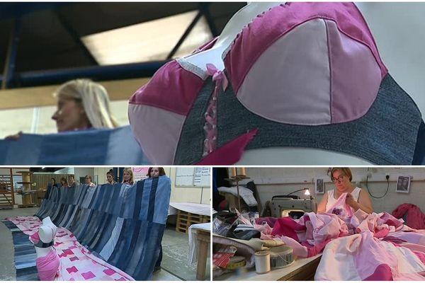 Des salariés en insertion se sont lancés le défi de réaliser le plus grand soutien-gorge du monde pour inciter au dépistage du cancer du sein