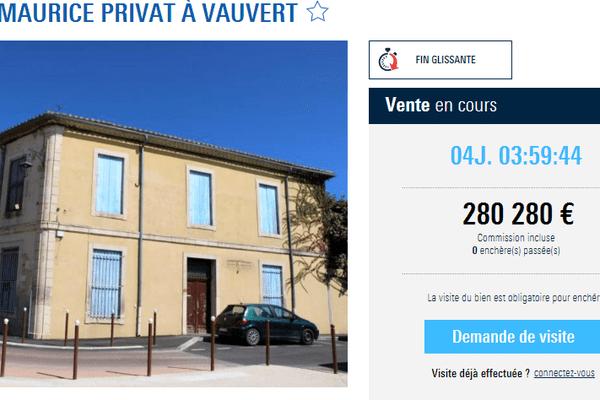 L'ancien bâtiment de la trésorerie de Vauvert est en vente pour cinq jours, sur le site Agorastore.