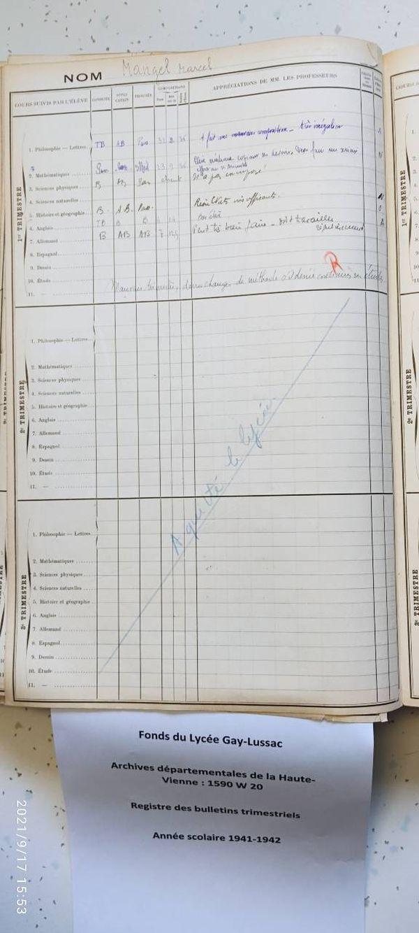 Marcel Mangel n'a étudié qu'un trimestre au lycée durant l'année 1941-1942. Bon élève mais trop absent, le jeune homme, âgé de 18-19 ans était en parallèle élève à l'école des arts décoratifs de Limoges et commence, en 1942 son engagement dans la Résistance.